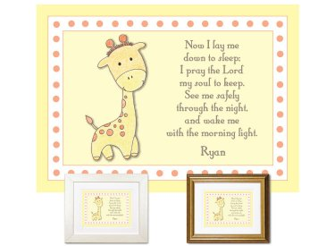 Personalized Child's Prayer Keepsake - Giraffe
