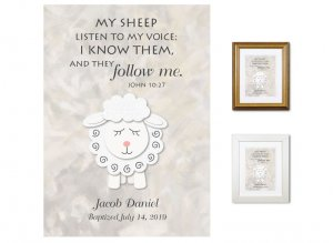 Personalized Baptism Gift - My Sheep Listen (neutrals)
