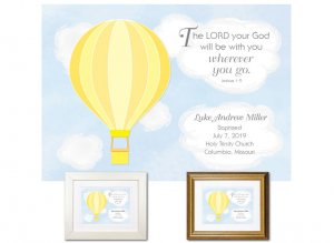 Personalized Baptism Gift - Wherever You Go (balloon, yellow)