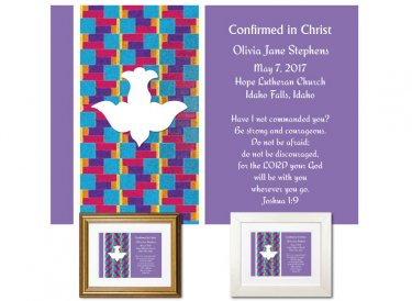 Confirmation Gift - Descending Dove (Lilac)