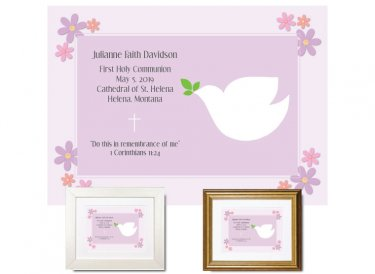 First Communion Gift - Dove (Plum)