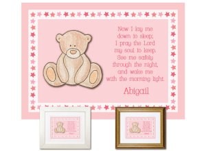 Children's Gift - Now I Lay Me Down - Teddy Bear (pink)