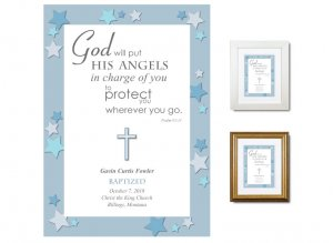 Personalized Baptism Gift - Angels (blue)