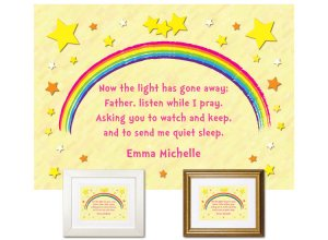 Children's Gift - Stars Bedtime Prayer (pink text)