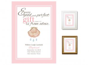 Personalized Baptism Gift - Gift From Above (pink)