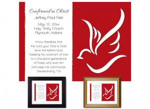 Confirmation Gift - Abstract Dove (Red)