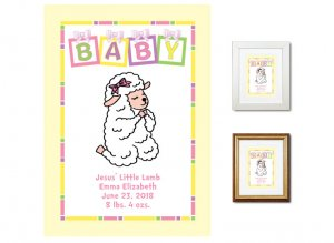 Newborn Gifts - Birth Stats (Praying Lamb, pink)