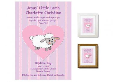 Personalized Baptism Gift - Little Lamb (pink/lilac)