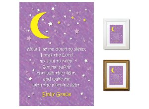 Children's Gift - Now I Lay Me Down - Night Sky (plum)
