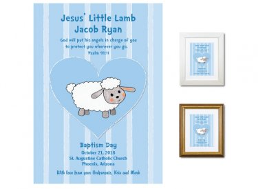Personalized Baptism Gift - Little Lamb (blue)