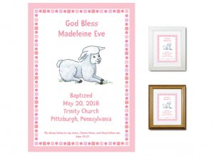 Personalized Baptism Gift - God Bless (pink)