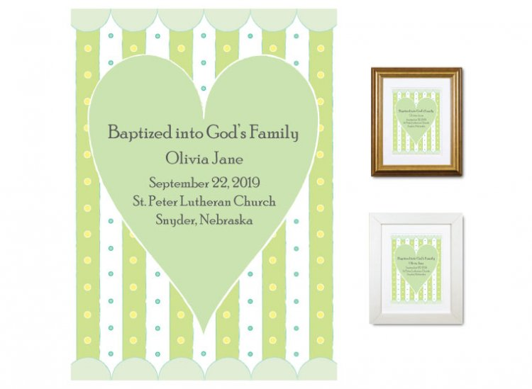 Personalized Baptism Gift - God's Family (heart, green) - Click Image to Close