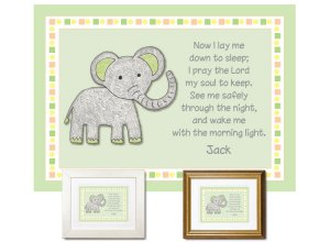 Children's Gift - Now I Lay Me Down - Elephant (green)