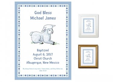 Personalized Baptism Gift - God Bless (blue)