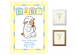 Newborn Gifts - Birth Stats (Praying Lamb, blue)
