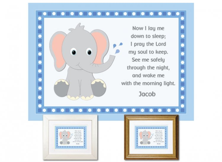 Children's Prayer - Now I Lay Me Down (Elephant, Blue) - Click Image to Close