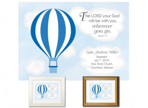 Personalized Baptism Gift - Wherever You Go (balloon, blue)