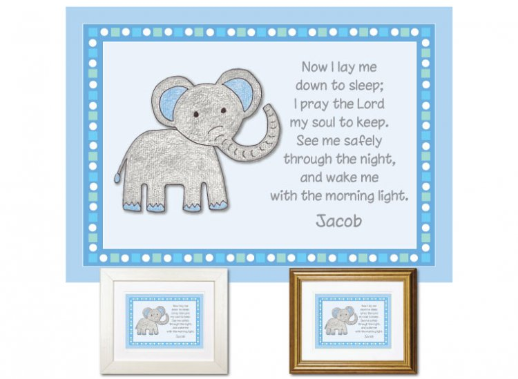 Children's Gift - Now I Lay Me Down - Elephant (blue) - Click Image to Close
