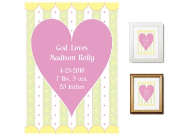 Newborn Gifts - Birth Stats (God Loves, pink)