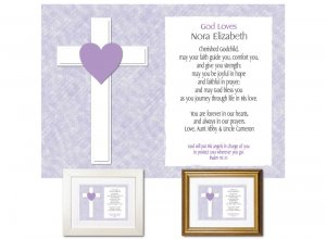 Gift for Godchild - God Loves (Lilac)