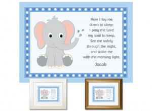 Children's Prayer - Now I Lay Me Down (Elephant, Blue)