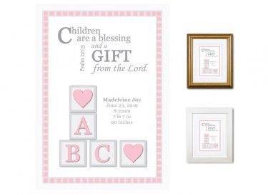 Newborn Gifts - Birth Stats - Blocks (pink)