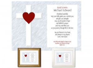 Gift for Godchild - God Loves (Red)