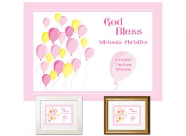 Newborn Gifts - Birth Stats (Balloons, pink)