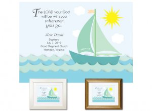 Personalized Baptism Gift - Wherever You Go (sailboat, green)