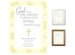 Personalized Baptism Gift - Angels (yellow)