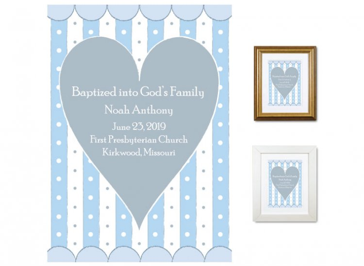 Personalized Baptism Gift - God's Family (heart, blue) - Click Image to Close