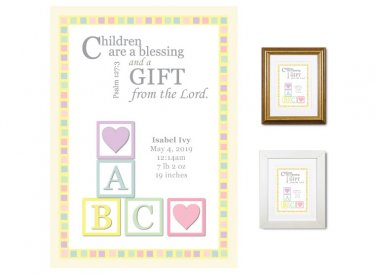 Newborn Gifts - Birth Stats - Blocks (pastels)
