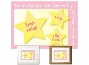 Newborn Gifts - Birth Stats (Little Star, pink)
