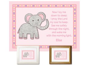 Children's Gift - Now I Lay Me Down - Elephant (pink)