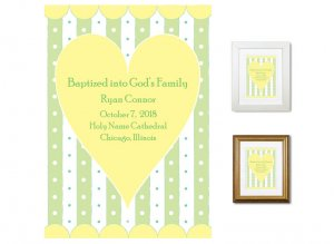 Personalized Baptism Gift - God's Family (heart, yellow)