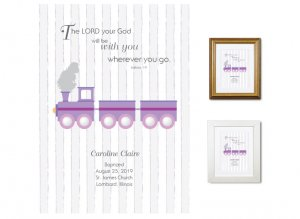 Personalized Baptism Gift - Wherever You Go (train, purple)