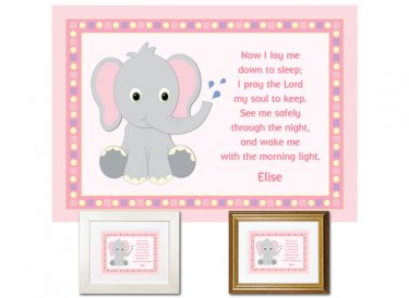 Personalized Child's Prayer Keepsake - Elephant