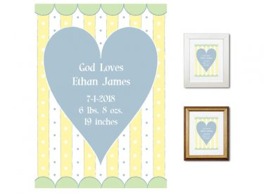 Newborn Gifts - Birth Stats (God Loves, blue)
