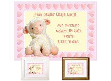 Newborn Gifts - Birth Stats (Little Lamb, pink)