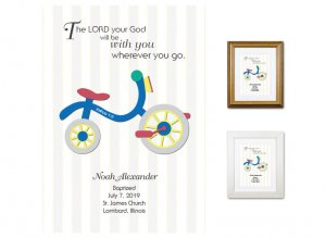 Personalized Baptism Gift - Wherever You Go (tricycle, primary)