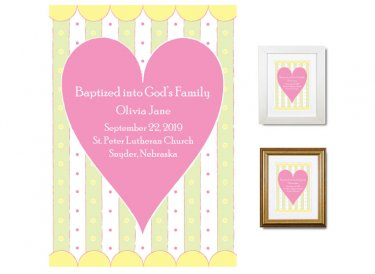 Personalized Baptism Gift - God's Family (heart, pink/green)