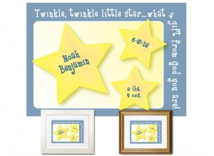 Newborn Gifts - Birth Stats (Little Star, blue)