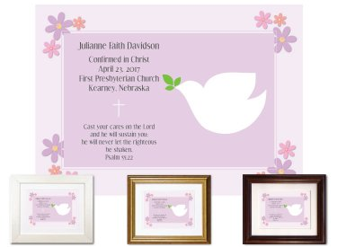 Confirmation Keepsake - Dove (Plum)