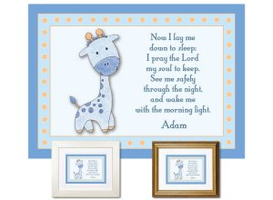 Children's Gift - Now I Lay Me Down - Giraffe (blue)