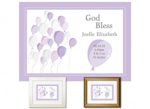 Newborn Gifts - Birth Stats - Balloons (violet)