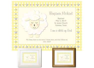 Personalized Baptism Gift - I Am a Child of God (yellow)