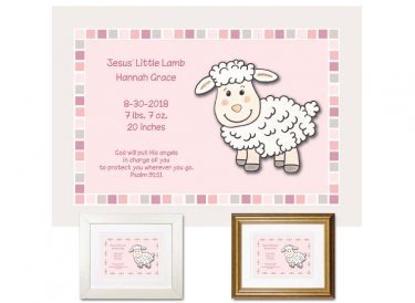 Newborn Gifts - Birth Stats - Jesus' Lamb (pink)