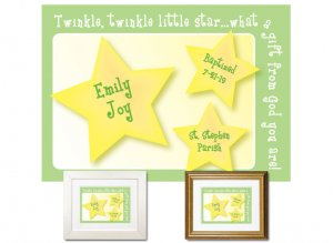 Personalized Baptism Gift - Little Star (green)