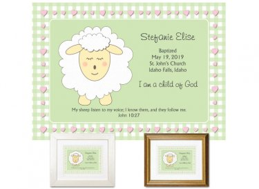 Personalized Baptism Gift - I Am a Child of God (green)