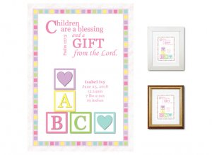 Newborn Gifts - Birth Stats (Blocks, pastels)